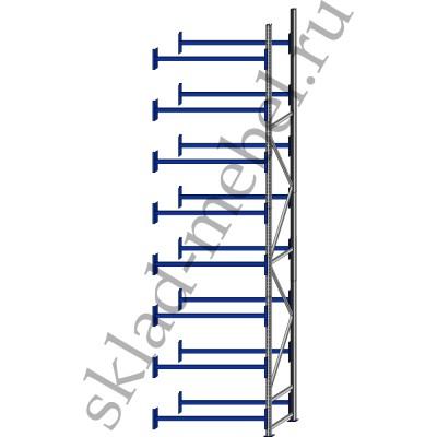 Дополнительная секция среднегрузового стеллажа СГУ-50 3000х800х6000мм с 8 полками, без настила, до 700 кг/полку