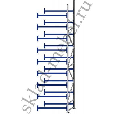 Дополнительная секция среднегрузового стеллажа СГУ-50 3000х600х6000мм с 9 полками, без настила, до 700 кг/полку