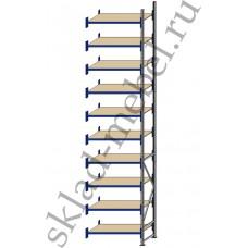 Дополнительная секция среднегрузового стеллажа СГУ-50 3000х800х6000 с 10 полками (ДСП, 700 кг/полку)