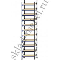 Стеллаж металлический среднегрузовой СГУ-50 2700х800х5500 с 11 полками (ДСП, 1000 кг/полку)