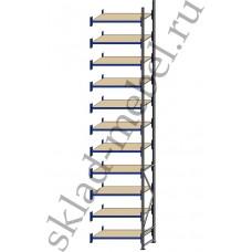 Дополнительная секция среднегрузового стеллажа СГУ-50 3000х800х5500 с 11 полками (ДСП, 700 кг/полку)