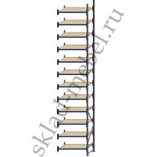 Дополнительная секция среднегрузового стеллажа СГУ-50 2700х800х6000 с 12 полками (ДСП, 1000 кг/полку)