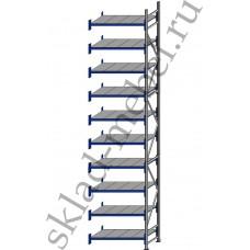 Дополнительная секция среднегрузового стеллажа СГУ-50 3000х800х4500 с 10 полками (Оцинковка, 700 кг/полку)