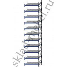 Дополнительная секция среднегрузового стеллажа СГУ-50 2700х800х5500 с 11 полками (Оцинковка, 900 кг/полку)