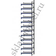 Дополнительная секция среднегрузового стеллажа СГУ-50 2400х800х6000 с 12 полками (Оцинковка, 800 кг/полку)